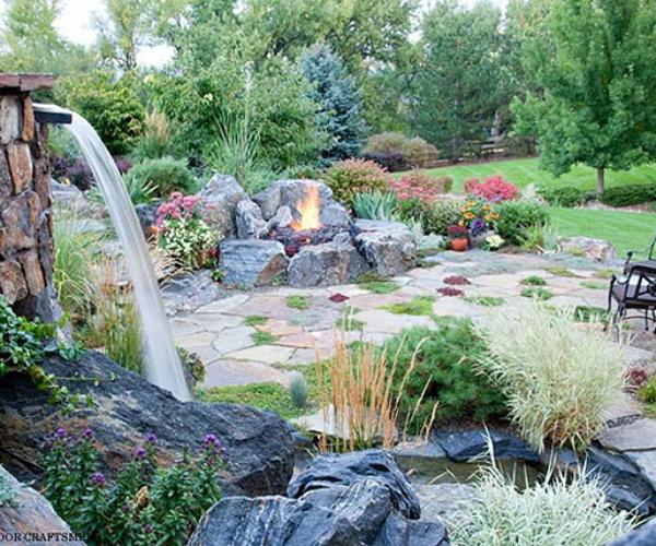 7 waterfall fireplace pond patio